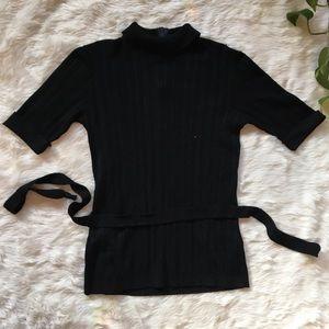 1990s Vintage Black Short Sleeved Turtleneck